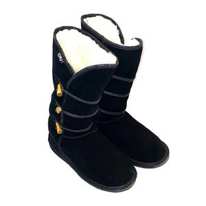 Black Suede calf high Boots.